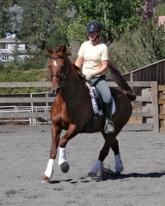 Edie and Tatiana. Plenty of position flaws here. The horse looks nice, though!
